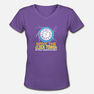 save the clock tower t shirt cult movie - Women's V-Neck T-Shirt
