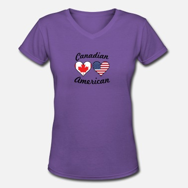 Canadian Heart Canadian American Flag Hearts - Women's V-Neck T-Shirt