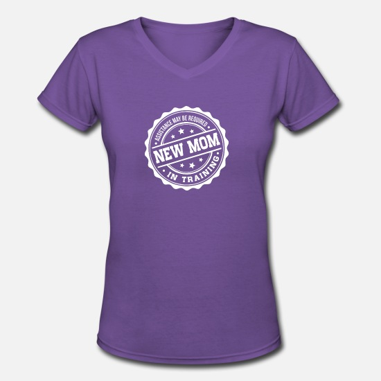 Mother's Day T-Shirts - New Mom In Training - Women's V-Neck T-Shirt purple