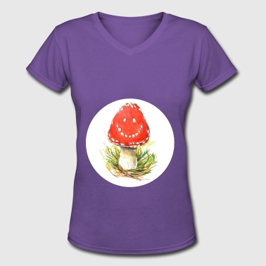 laughing mushroom / amanita muscaria / fly agaric - Women's V-Neck T-Shirt