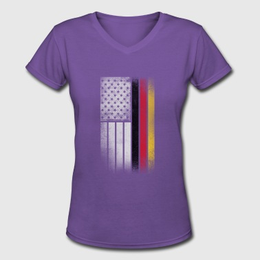German American Flag - Half German Half American - Women's V-Neck T-Shirt