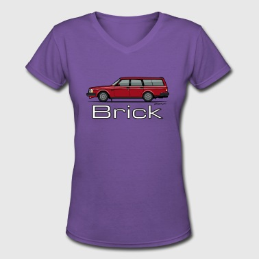 Volvo 245 240 Series Red Wagon Brick - Women's V-Neck T-Shirt
