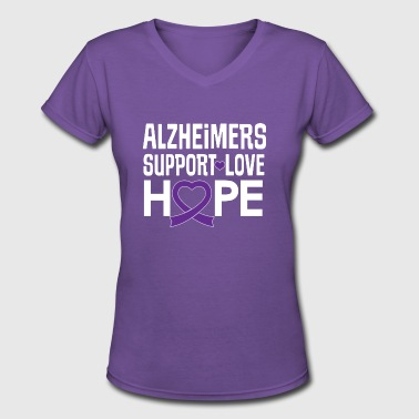 Alzheimers Awareness Ribbon Support Love - Women's V-Neck T-Shirt