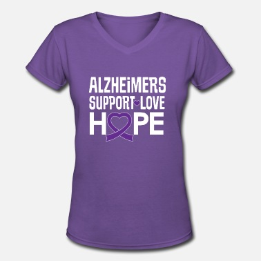 Alzheimers Support Alzheimers Awareness Ribbon Support Love - Women's V-Neck T-Shirt