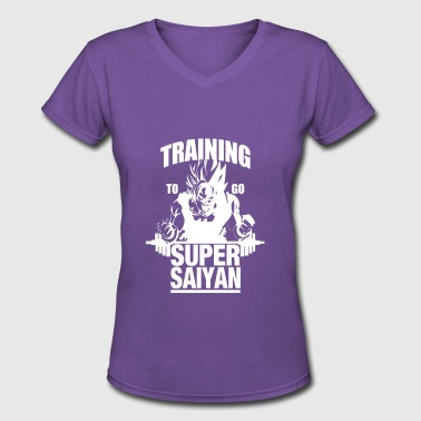 Training To Go Super Saiyan - Women's V-Neck T-Shirt
