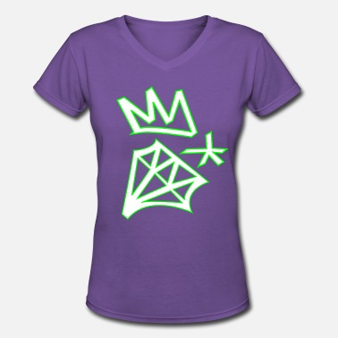 Diamond Star Diamond crown star - Women's V-Neck T-Shirt