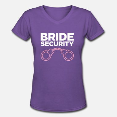 Secure Team Security Team Of The Bride - Women's V-Neck T-Shirt