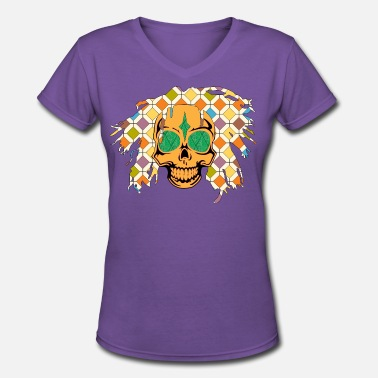 Ragga Bob BOB MARLEY SKULLY 2 - Women's V-Neck T-Shirt