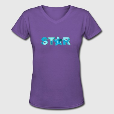 1 Sister Number One Sister artTS starry star star bluz - Women's V-Neck T-Shirt