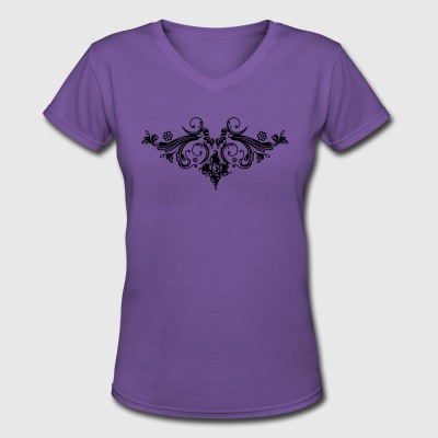 Filigree flowers and baroque ornament. - Women's V-Neck T-Shirt