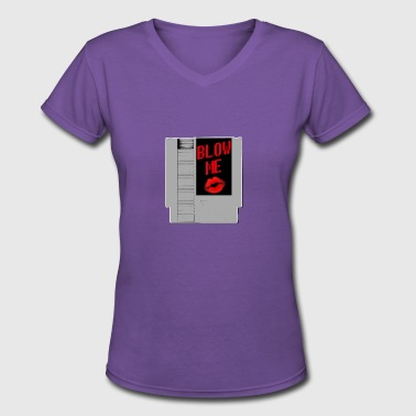 Blow Me Retro Videogame Cartridge - Women's V-Neck T-Shirt