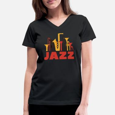 Jazz Musical Instruments - Women's V-Neck T-Shirt