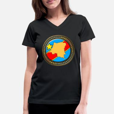 Flag Of Congo Congo - Congo Flag map - Women's V-Neck T-Shirt