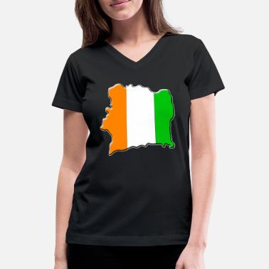 Ivory Coast Ivory Coast Flag Map - Women's V-Neck T-Shirt