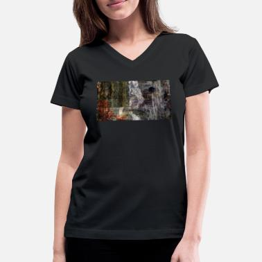 Smudge Modern Abstract Painting - Women's V-Neck T-Shirt