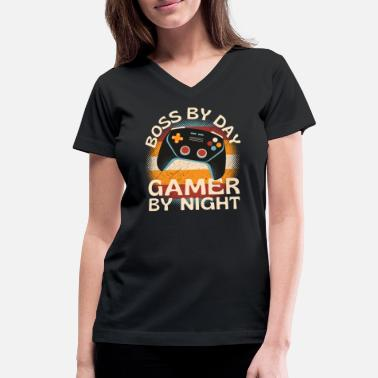 Pro Boss By Day Gamer By Night - Women's V-Neck T-Shirt