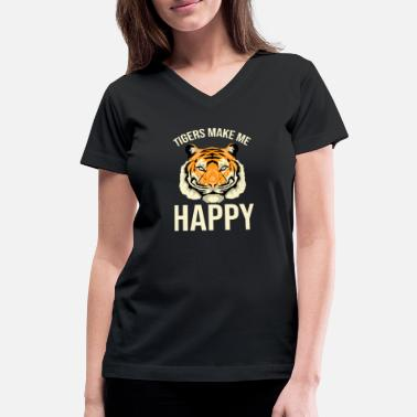 Christmas Tiger Head - Women's V-Neck T-Shirt