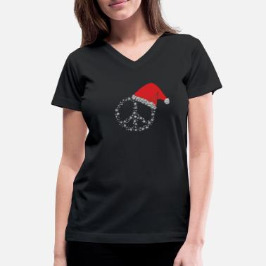 Snow Goose Hippie Christmas peace sign gift idea - Women's V-Neck T-Shirt