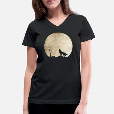 Cool Wolf Halloween The Cool Wolf Night Shirt Limited - Women's V-Neck T-Shirt