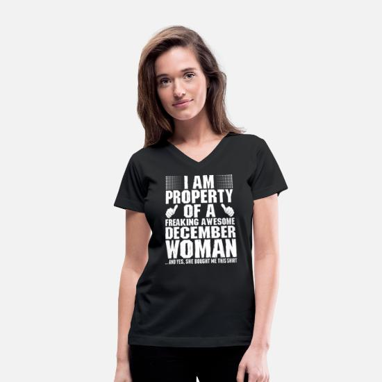 December T-Shirts - Im Property Of A Awesome December Woman - Women's V-Neck T-Shirt black