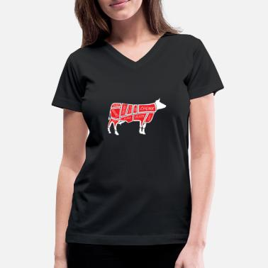 Beef Beef Meat Cuts - Butcher BBQ Barbecue Grilling - Women's V-Neck T-Shirt