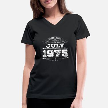 Established Established in July 1975 Present - Women's V-Neck T-Shirt