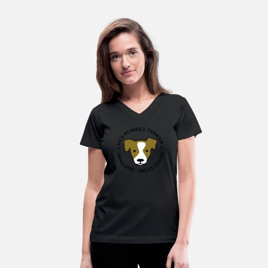 Jack T-Shirts - Jack Russell Terrier - Women's V-Neck T-Shirt black