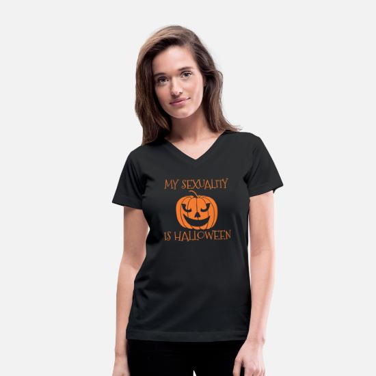 Mood T-Shirts - My Sexuality Halloween Current Mood Pumpkin Spice - Women's V-Neck T-Shirt black