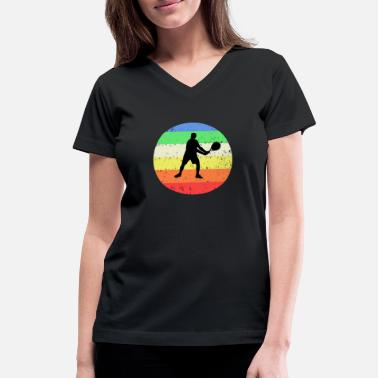 Tennis with colored circle background - Women's V-Neck T-Shirt