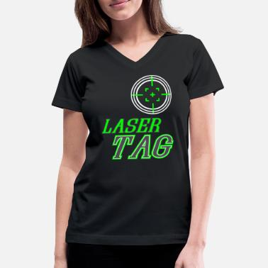 Tag Funny Laser Tag Party TShirt Mode On Laser tag - Women's V-Neck T-Shirt