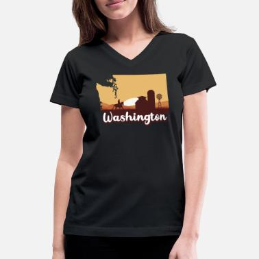 Wash Washington Map Horse Riding Cowboy Barn Windmill - Women's V-Neck T-Shirt