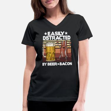 Easily Distracted By Beer & Bacon BBQ Fathers Day - Women's V-Neck T-Shirt