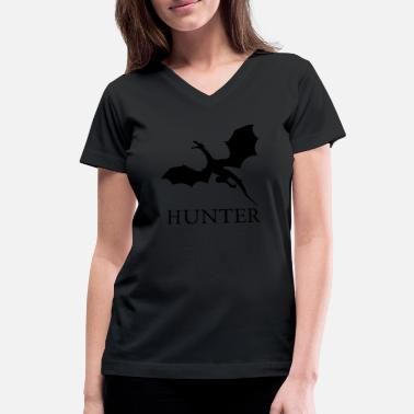 Minimalist Dragon Dragon Hunter - Women's V-Neck T-Shirt