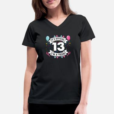 Teen 13th Birthday Teenager Girl Official Teen - Women's V-Neck T-Shirt