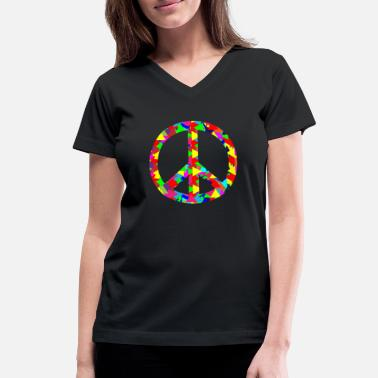 Hamsa Peace Sign for a wonderful world with your family - Women's V-Neck T-Shirt