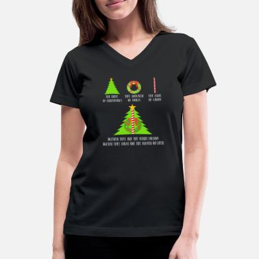 Holly Christmas Tree The Tree Of Christmas The Wreath Of Holly Cane - Women's V-Neck T-Shirt