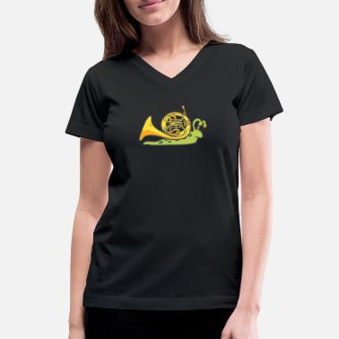 Snail MBA Design Wind Instrument Cool Gift Idea - Women's V-Neck T-Shirt