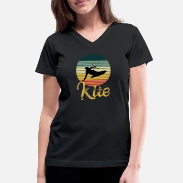 Kiteboard Retro Kiteboard Kite board Kiteboarding - Women's V-Neck T-Shirt