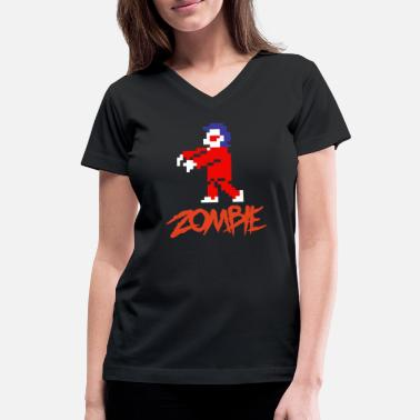 8 Bit Zombie - Women's V-Neck T-Shirt