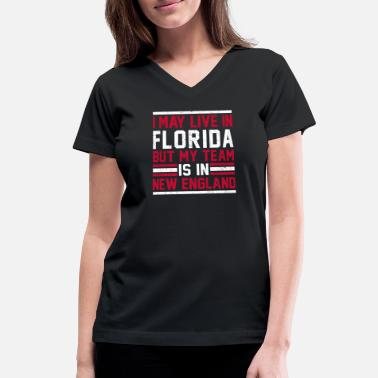 New England Kayak Fishing Live in Florida, my team is in New England - Women's V-Neck T-Shirt