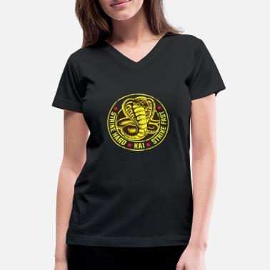 Karate Cobra strike hard kai strike fast no mercy karate - Women's V-Neck T-Shirt