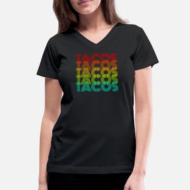80s 70s Taco Retro 70s 80s - Women's V-Neck T-Shirt