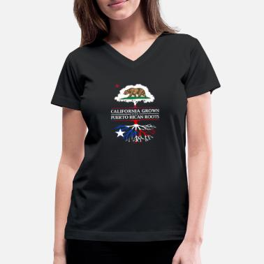 Puerto Rico Pride California Grown with Puerto Rican Roots - Women's V-Neck T-Shirt