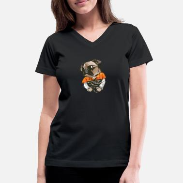 REBEL PUG - Women's V-Neck T-Shirt
