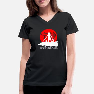 Chinese Girl Fight like a girl - Chinese girl - Women's V-Neck T-Shirt