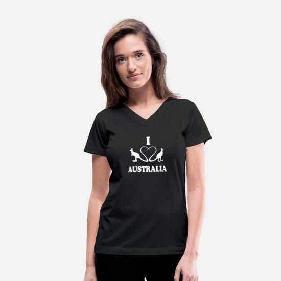 Aussie T-Shirts - I love down Under Kangaroo - Women's V-Neck T-Shirt black
