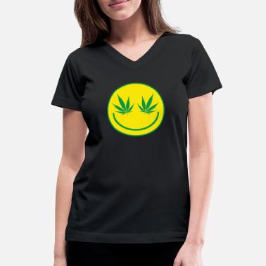 Weed Smiley Weed Smiley - Women's V-Neck T-Shirt