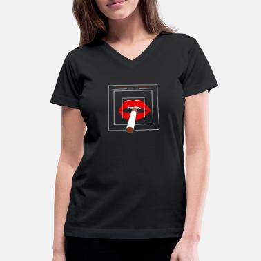 3d Mouth Cigarette - Women's V-Neck T-Shirt