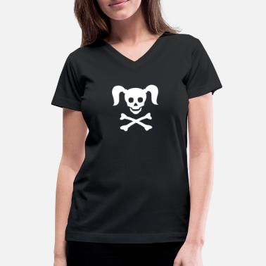 Girlie Girlie Pirate - Women's V-Neck T-Shirt