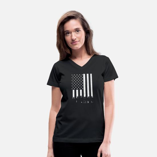Support T-Shirts - Support Our Troops - Support Our Troops - red sh - Women's V-Neck T-Shirt black